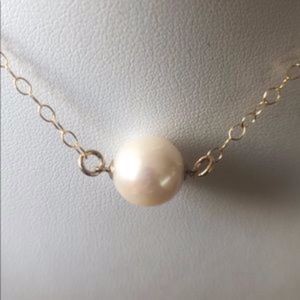 10.5mm White Round AAA Pearl 14K Gold Filled Chain